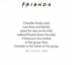 """Even if he is a sarcastic, """"gay"""" mess chandler is always there for his friends ❤️"""