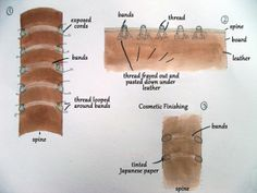 Board Reattachment: Cord Extensions by Abigail Bainbridge Book Repair, Paper Art, Paper Crafts, Leather Thread, Bookbinding Tutorial, Japanese Paper, Old Books, Handmade Books, Book Binding