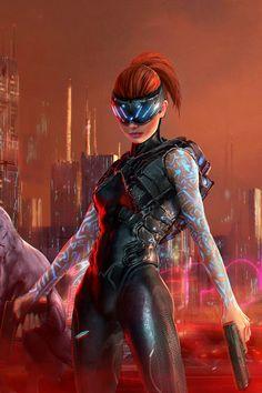 Cyberpunk 2077, Cyberpunk Girl, Arte Cyberpunk, Cyberpunk Fashion, Steampunk Fashion, Gothic Fashion, Fantasy Character Design, Character Inspiration, Character Art