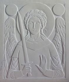 1. Carved icon without stones of St-Michael by Jonathan Pageau