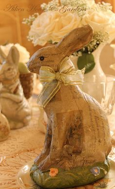 I'm going to have to find an old bunny at the junk shop and decoupage.