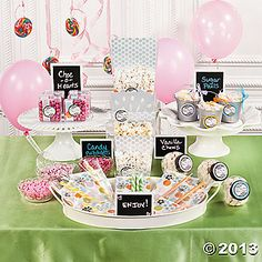 """Personalized Candy Buffet HERE'S WHAT YOU NEED: Small Cello Celar Basket Bags Clear Plastic Square Containers Favor Stickers 1.5"""" Black and White Chalkboad Tablecards Chalkboard Placecards Round Storage Bottle Silver Metal Pails with Handles Rainbow Paper Pack Blue Mono Paper Pack Red/Pink Mono Paper Pack Green Mono Paper Pack Purple Mono Paper Pack Orange Mono Paper Pack Yellow Mono Paper Pack Small Cello Clear Basket Bags Silver Filegree Brads"""