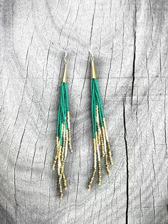 Jungle Green Fringe Earrings Seed Bead Fringe Shoulder by KadhiBo, $44.00