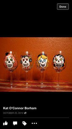 Sugar skulls painted stemware