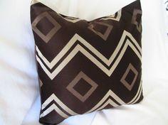 Decorativehe Designer Pillow Cover-18 inch-Chocolate Brown Chevron And Diamonds $25