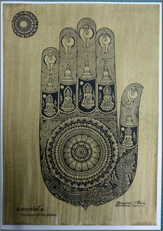 Thai traditional art of Hand Of The Buddha by silkscreen printing on sepia paper
