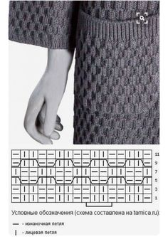 {PHOTO ONLY} KNIT HONEYCOMB STYLE STITCH PATTERN WITH DIAGRAM (Russian) | SIZE Diagram Pattern is 16 sts X 11 rows; HOWEVER, actual Repeating Pattern is ONLY a 4 sts Knit (|) or Purl (-) in the Front (u) or Back (n) Loop Repeat. No other information is needed! | KNIT= (l) /PURL=(-) /In the Front Loop= (U) bracket points forward like a U /In the Back Loop (n) bracket is points backward like an n. | Found this on Pinterest; however the Website page was a Redirect to the Original Russian Page…