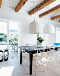 A Swedish home decor that is charming and inviting was created using IKEA furniture and lighting, in the village of Simris Osterlen in Sweden. Swedish Home Decor, Swedish Interior Design, Interior Decorating, Scandinavian Style, Decorating Ideas, Faux Beams, Wood Beams, Exposed Beams, Wood Wood