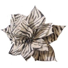 11 inch Diva Safari Black and White Zebra Print Flower Clip On Christmas Ornament
