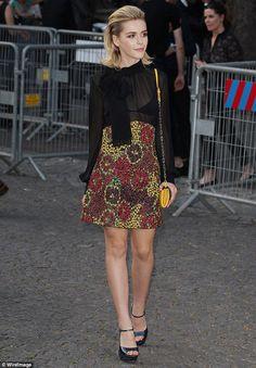 Teaching the fashion elite a thing or two:Kiernan Shipka, 15, was styled to perfection...