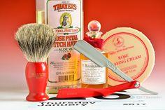 Taylor of Old Bond St. rose shave cream, Trumper's branded badger brush, Feather Artist Club folding straight razor, Thayer's rose witch hazel, Penhaligon's Hammam Bouquet cologne, January 26, 2017.  ©Sarimento1