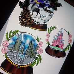 Snow globe flash designed by Louise.. At discounted rates on £120 next week only. For enquiries contact the studio #tattoo #tattoodesign #flash #snowglobes #snowglobetattoo #christmastattoo #newtraditional #colchester #essex