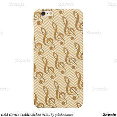 Gold Glitter Treble Clef on Yellow Chevron Glossy iPhone 6 Plus Case