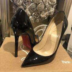 ENDING SOON:  Christian Louboutin Pigalle Black Patent Leather 120mm Pumps Size 38 #shoes #designer