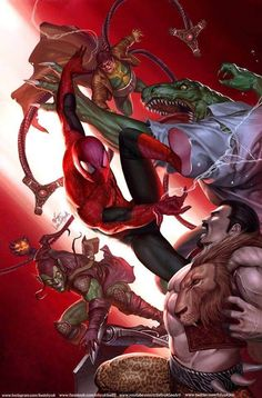 Marvel Comics. Comic Book Artwork • Spider-Man Vs The Sinister Six by InHyuk Lee. Follow us for more awesome comic art, or check out our online store www.7ate9comics.com Black Spiderman, Spiderman Art, Amazing Spiderman, Buy Comics, Marvel Comics Art, Marvel Heroes, Comic Books Art, Comic Art, Book Art