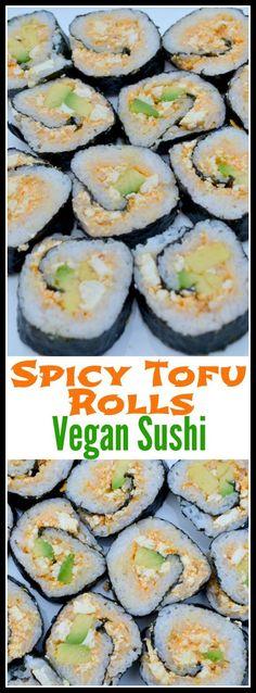 Spicy Tofu Rolls: Vegan Sushi Recipe – Miss Frugal Mommy Vegan Foods, Vegan Dishes, Vegan Recipes, Cooking Recipes, Spicy Tofu Recipes, Cooked Sushi Recipes, Cycling Diet, Carb Cycling, Vegan Art