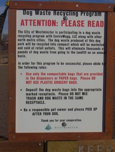 We collect dog waste from dog parks, and compost it into safe garden products.  Signs posted at the parks explain how visitors can do their part.
