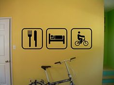 Eat Sleep Biking BMX Wall Decal Bike Bicycle extreme sport Stickers Wall Art Wall Decals Home Decor Wall Stickers Decor Sticker tr352