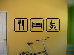 Eat Sleep Biking BMX Wall Decal Bike Bicycle extreme sport Stickers Wall Art Wall Decals Home Decor Wall Stickers Decor Sticker tr352