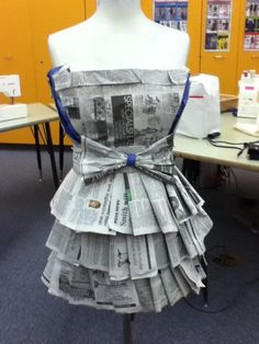 (This is a dress I made for the recycle and redesign competition at the FCCLA conference. Succeeding in making a dress really helped make my dreams a reality and give me hope for what could FCCLA Fashion Design Classes, Fashion Project, Star Events, Recycling, Newspaper Dress, Recycled Fashion, Fashion Marketing, Refashion, Textile Design