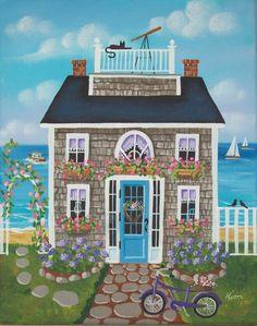 Nantucket Breeze Cottage Original  Folk Art Print. $12.95, via Etsy.
