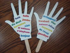 April 27, 2015. We made these personalized multilingual hello/goodbye hands!