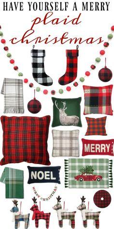 Plaid Christmas decor all from Target - Cozy plaid christmas decor