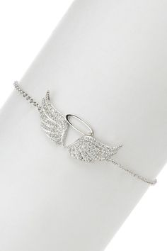 All That Glitters Pave CZ Angel Wing Charm Bracelet on HauteLook Hand Jewelry, Cute Jewelry, Jewelry Box, Jewelery, Jewelry Accessories, Fashion Accessories, Fashion Jewelry, Pandora Jewelry, Angel Wings Jewelry