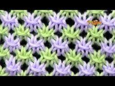 Cómo Tejer PUNTO CALADO en COLORES - Knit Stitch Colors - 2 agujas (466) - YouTube