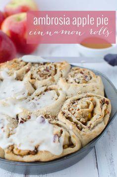 Vegan Apple Pie Cinnamon Rolls! The perfect holiday breakfast treat! Homemade apple pie filling layered in homemade cinnamon rolls.