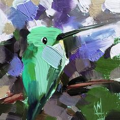 Hummingbird no. 223 Original Oil Painting by Angela Moulton