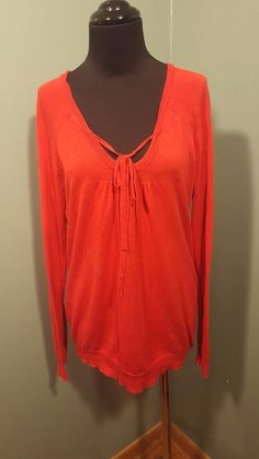Gap Orange Red Tie Front Long Sleeve Thin Knit Cotton Modal Christmas Sweater M #Gap #TieFront #daystarfashions $15