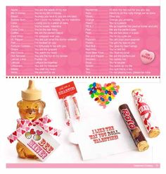 List of cute sayings to go with candy, etc. for valentines or any occasion. - decorating-by-day
