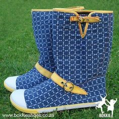Shweshwe boots by Bokkie. Out Of Africa, Fabric Names, Conceptual Design, Cute Boots, Love Affair, Textile Design, Rubber Rain Boots, African, My Love