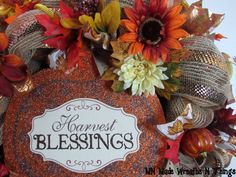 Harvest Wreath Fall Wreath Thanksgiving by MnMadeWreathsNThings
