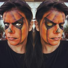 Jack-O'-Lantern Halloween makeup. Carved Pumpkin inspired.