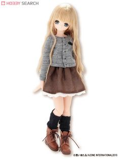 [Close] PNS Romantic Girly ! Ribbon Accent Cardigan (Gray) (Fashion Doll) Item picture1
