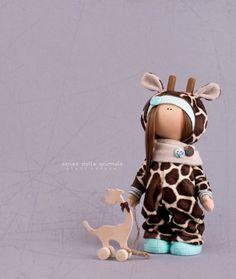Giraffe doll handmade Tilda doll Interior by AnnKirillartPlace