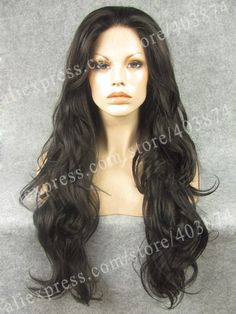 N12-4 Best sale Natrual Wavy High quality dark brown color synthetic lace front wig heat resistant synthetic wigs