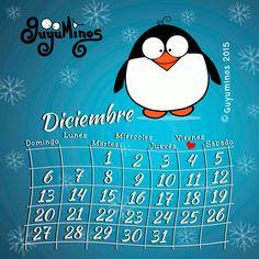 Calendario Diciembre ©Guyuminos 2015. Disfruta cada día de esta hermosa época del año!!!   #guyuminos #diciembre #navidad #pingüino    #calendario   http://guyuminos.blogspot.mx/2015/11/calendario-diciembre-guyuminos-2015.html