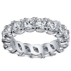 4.00 CT TW Brilliant Cut Diamond Eternity Ring in Split Prong Platinum Setting - Size 5.5
