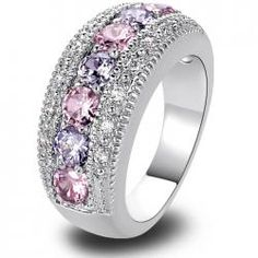 Women Rings Fashion Pink Topaz & Amethyst 925 Silver Band Ring Size 6 7 8 9 10 11 12 Round Cut New Jewelry Gift Wholesale Fashion Rings, Fashion Jewelry, Women Jewelry, Fashion Fashion, China Fashion, Fashion Women, Mode Rose, Pink Topaz, Jewelry Making