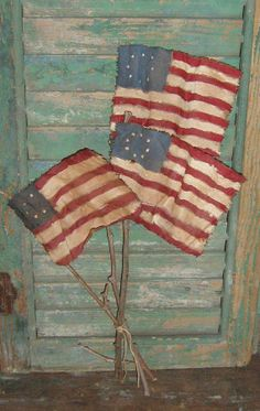 3 Primitive Flags - Hand Painted Flags