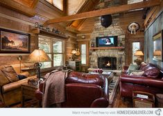 Log Home With Barn Wood and Western Decor - Image: Appalachian Log and Timber Homes - #WesternHome
