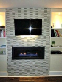 wall mounted tv with fireplace glass tile - Google Search