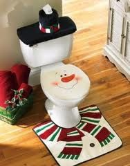 Christmas Snowman Toilet Decor