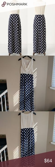 """Anthropologie Great Dot Maxi Dress By Moulinette Soeurs. Super gorgeous dress in perfect condition! Silk crepe bodice with a cowl neckline. Skirt is a navy rayon with cream polka dot print. Side Zip. Back of skirt has a slit.   Length: 56""""  Offers welcome!   **Bundles receive 20% off + a free gift!** Anthropologie Dresses Maxi"""
