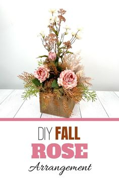 Make a DIY Fall Rose artificial flower arrangement for your entryway or living room. Decorating with flowers is fun! Our wreath of the month club has over 100 video tutorials, including this one. Click to learn more. Rose Arrangements, Artificial Flower Arrangements, Artificial Flowers, Do It Yourself Crafts, Craft Show Ideas, Decorating Small Spaces, Mantle Decorating, Decorating Ideas, How To Make Wreaths