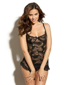 black lace lingerie with ruffle back , by adore me