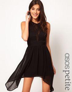 Vergrößern ASOS PETITE – Exklusives Kleid mit Spitzeneinsatz